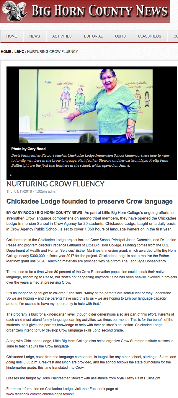 Chickadee Lodge Crow Immersion School Opens